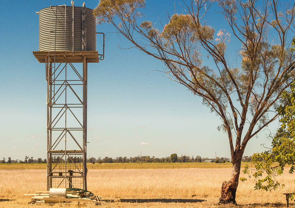 A round water tank stands on a raised platform in an arid landscape, beside a wiry tree.