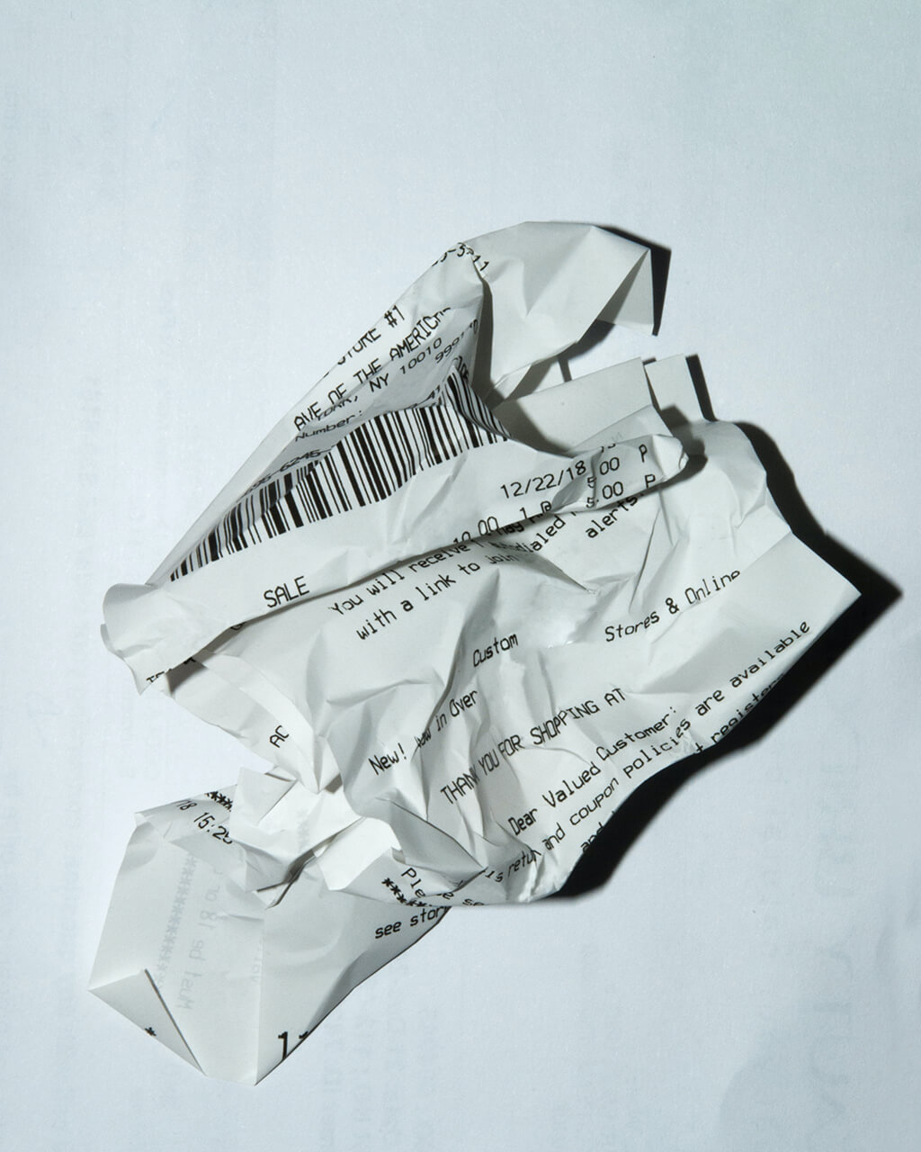 A crumpled receipt